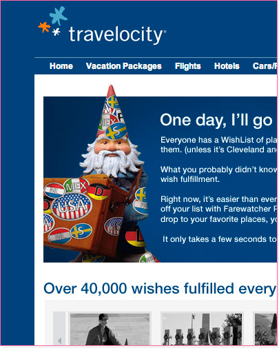 Travelocity Landing Page